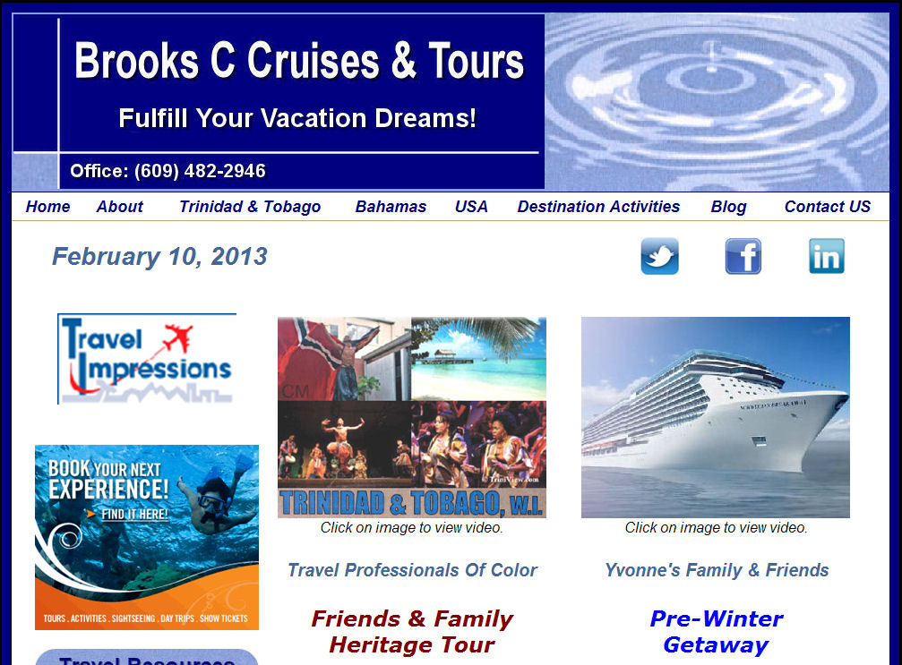 Brooks C Cruises & Tours , LLC  Sicklerville , NJ 08081